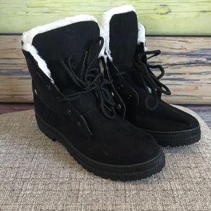 Faux fur suede ankle boots